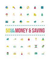 jeu d'icônes de style plat argent et épargne vecteur