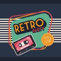 affiche de fête de style rétro avec cassette vecteur