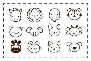 lot de douze styles de ligne d'animaux kawaii