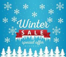 grande affiche de vente d'hiver avec cadre de ruban dans une scène de paysage de neige vecteur