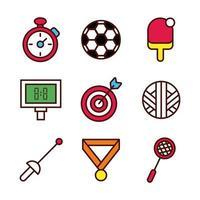 ligne de sport et jeu d'icônes de remplissage
