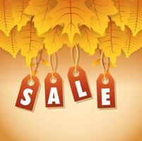 bannière de vente automne avec feuillage et étiquettes