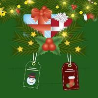 carte de joyeux noël avec des cadeaux et des étiquettes suspendues