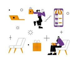 conception de vecteur de jeu d'icônes de magasin en ligne