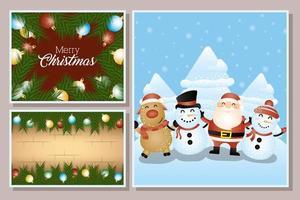 carte de Noël sertie de personnages mignons vecteur
