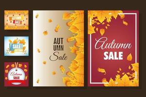 ensemble de bannière saisonnière vente automne
