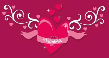 bonne carte de saint valentin avec coeur et ruban