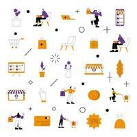 jeu d'icônes de boutique en ligne