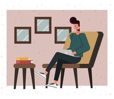 dessin animé, jeune homme, à, ordinateur portable, chez soi vecteur