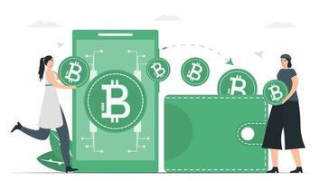 à l'heure actuelle, l'argent numérique peut être utilisé à la place du portefeuille. méthode de paiement avec de la monnaie numérique. vecteur