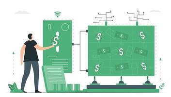 l'homme utilise les services bancaires en ligne pour effectuer une gamme de transactions financières via un site Web financier. vecteur