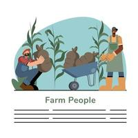 gens de la ferme avec des sacs et modèle de bannière de brouette vecteur