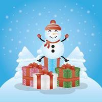 joyeux noël carte avec cadeaux et bonhomme de neige vecteur