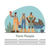 modèle de bannière de gens de ferme vecteur