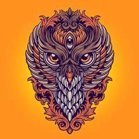 illustration d'ornements colorés roi hibou vecteur