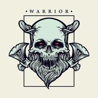guerrier crâne viking avec illustration vectorielle axes vecteur