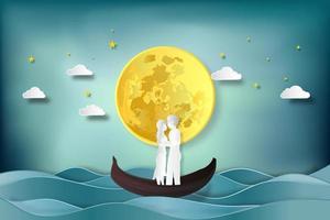 papier découpé et style artisanal numérique des amoureux en bateau vecteur