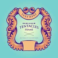 illustration vintage de cadre de tentacules de poulpe nautique vecteur