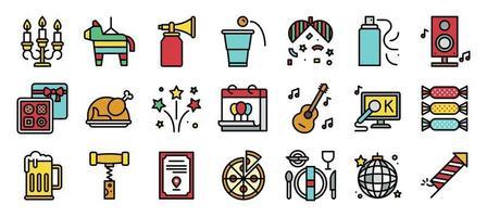 Ensemble d'icônes rempli d'éléments de fête du nouvel an vecteur