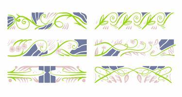 Art nouveau motif floral éléments décoration vecteur