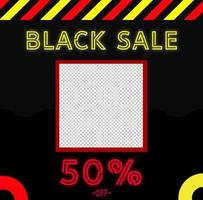 modèle de bannière de vente vendredi noir avec style néon