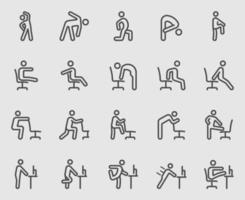 exercice pour les personnes travaillant, bureau, ensemble d'icônes de ligne de travail