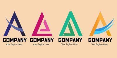 ensemble de la lettre un logo, lettre colorée et simple un logo.