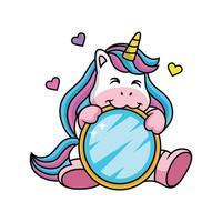 expression de licorne dessin animé mignon avec un miroir vecteur