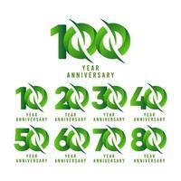 Illustration de conception de modèle de vecteur de célébration verte anniversaire 100 ans