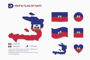 carte et drapeau d'Haïti vecteur