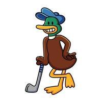 canard de dessin animé jouant au golf avec un sourire mignon. illustration vectorielle clip art avec des dégradés simples en fond blanc. vecteur