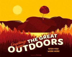 Salutations de la grande carte postale de vecteur de plein air