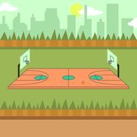 Illustration de la cour de basketball vecteur