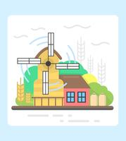 Conception de moulin à vent plat vecteur