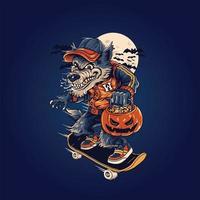 skateboard de loup avec illustration vectorielle de citrouille halloween vecteur