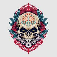 illustration de dia de los muertos crâne de sucre mexique vecteur
