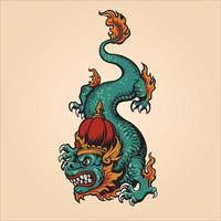 illustration traditionnelle du roi dragon vecteur