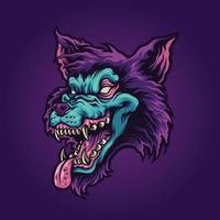illustration vectorielle de mascotte de loup vampire en colère vecteur