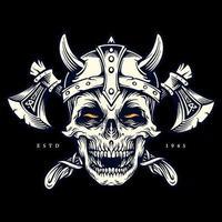 guerrier viking crâne avec illustration de vêtements haches vecteur