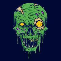 illustration isolé de crâne zombie