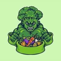 mascotte végétarienne forte brocoli vegan vecteur