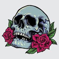 crâne avec illustration vectorielle de roses