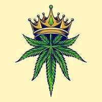 feuille de cannabis avec couronne en or vecteur
