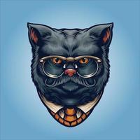 gentleman chat gris avec des lunettes vecteur