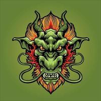 illustration de mascotte tête de dragon en colère vecteur
