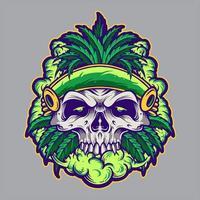 crâne de feuille de cannabis avec de la fumée vecteur
