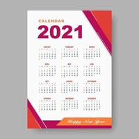 Conception de calendrier simple 2021 vecteur
