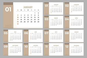 Conception de calendrier clair 2021 vecteur