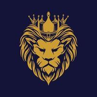 tête de lion en or avec couronne vecteur