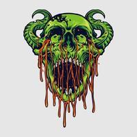 illustration de crâne de zombie démon diable vecteur